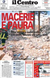 Il Centro Foto prima pagina sul secondo speciale del terremoto (foto Pietro Guida)